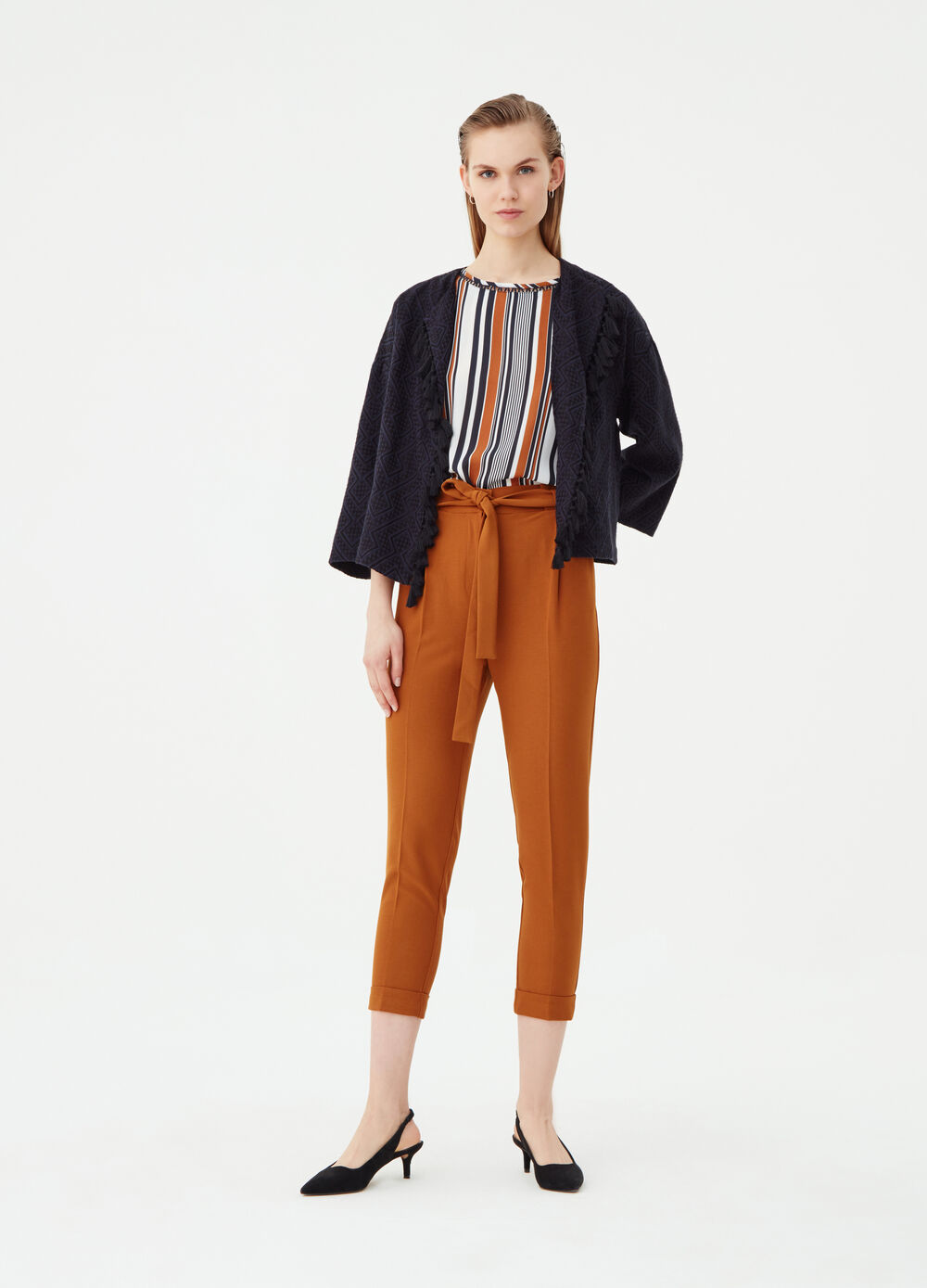 Carrot-fit stretch trousers