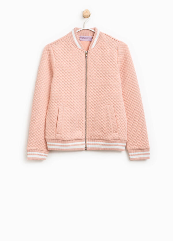 Diamond weave bomber jacket
