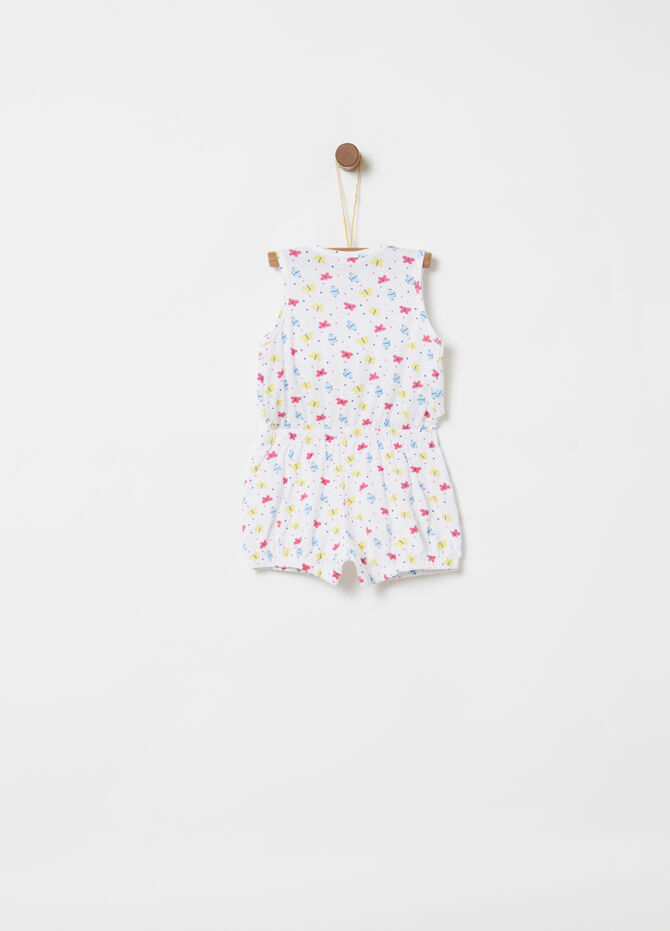 Short sleeveless onesie with patterned flounce