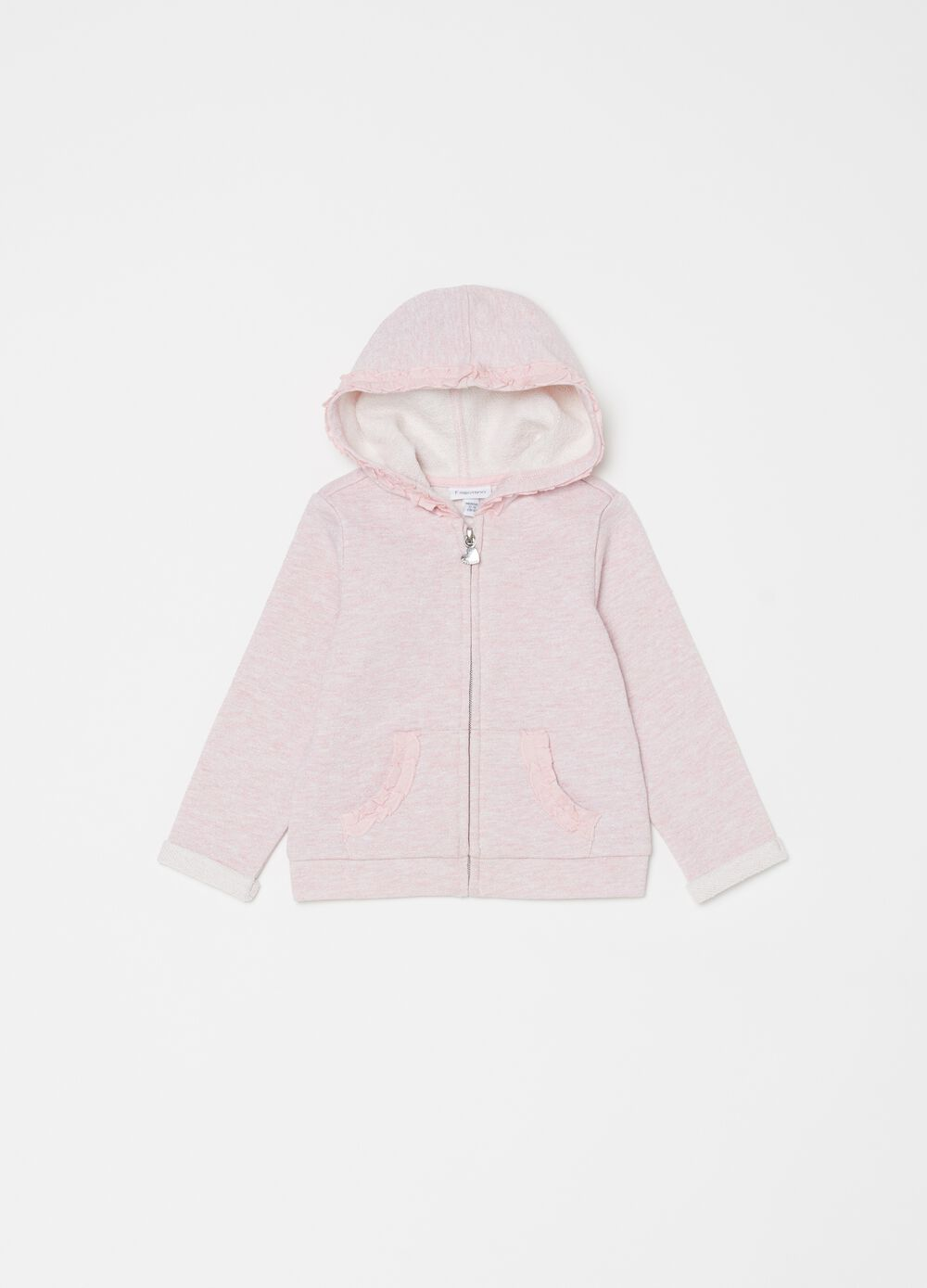 Sweatshirt with lurex, hood and zip