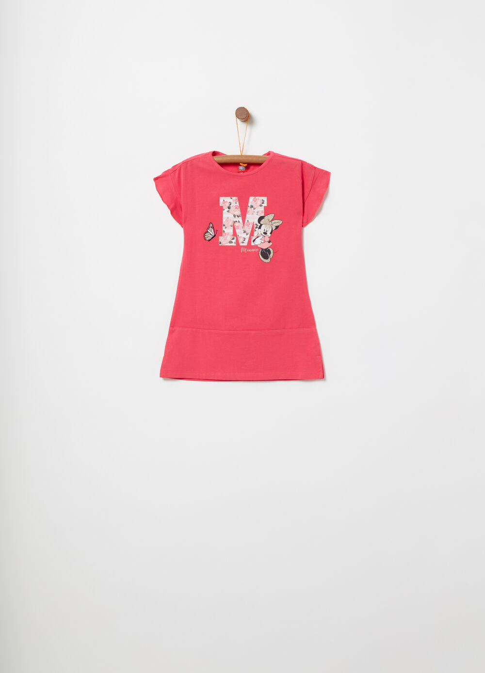 Jersey dress with embroidery and Minnie Mouse print