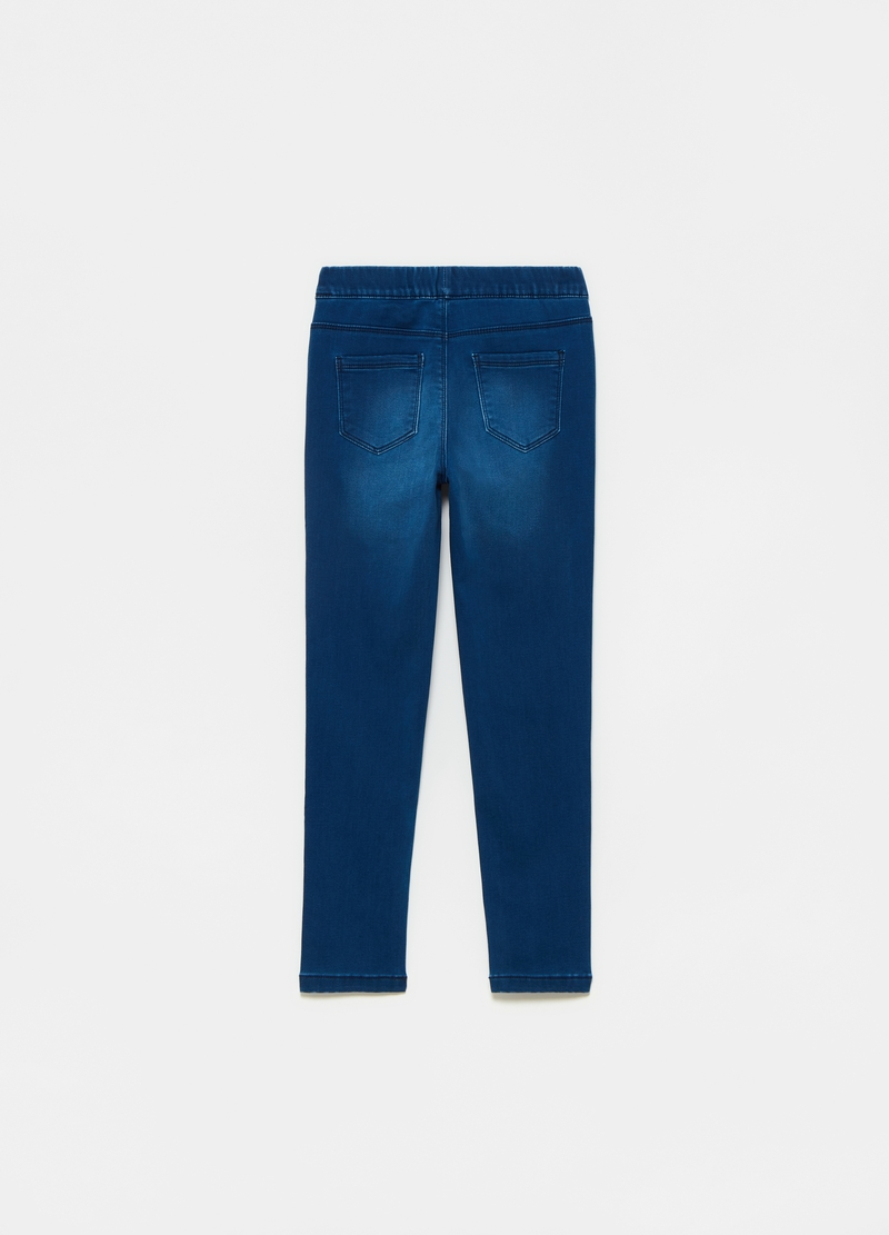 Jeggings in French terry denim with glitter image number null
