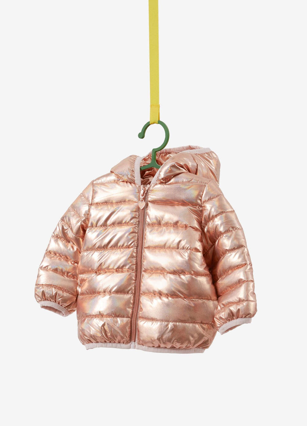 Down jacket with shiny effect hood