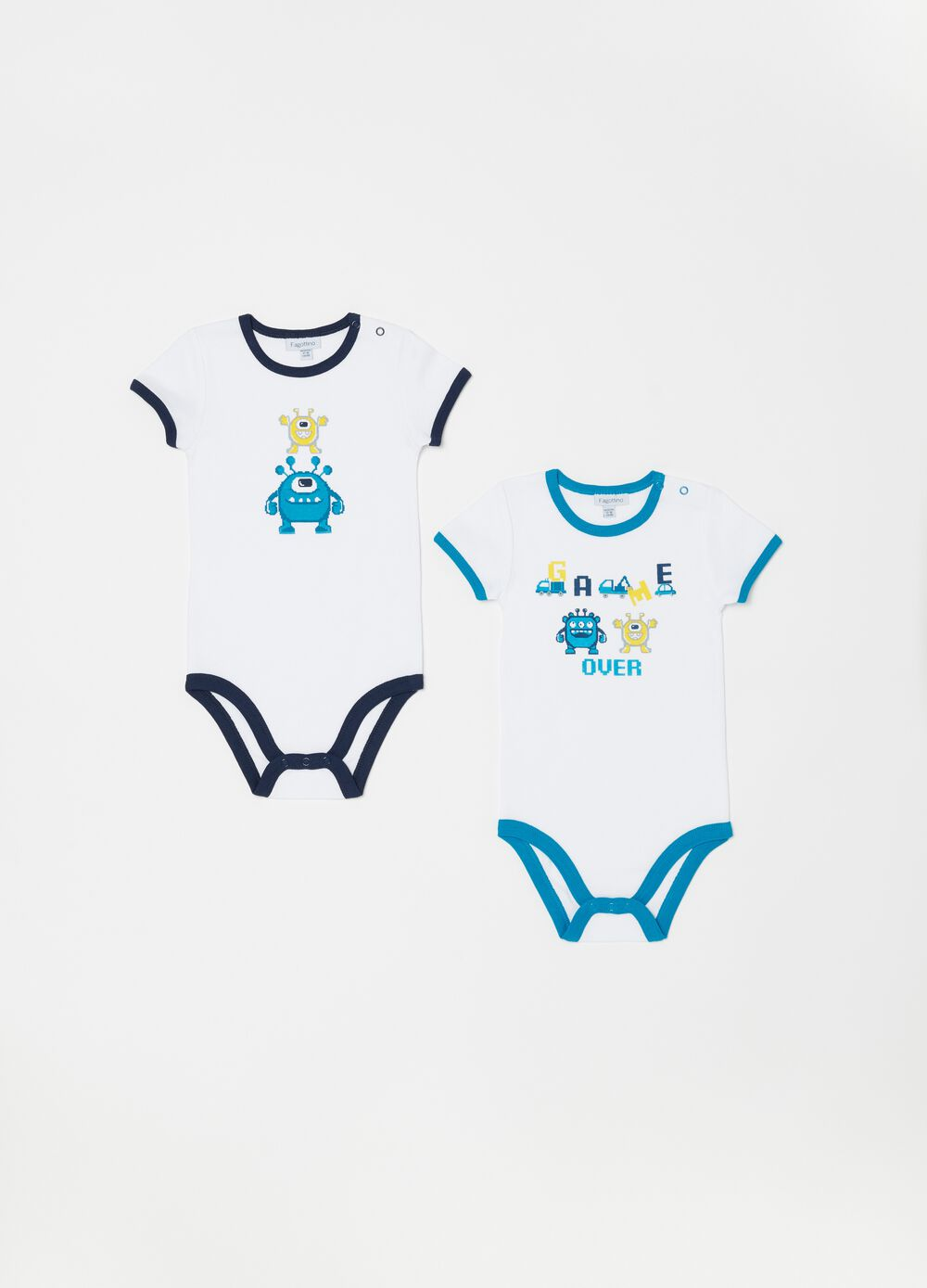 Two-pack biocotton bodysuits with print