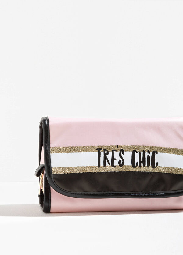 Polka dot beauty bag with printed lettering | OVS