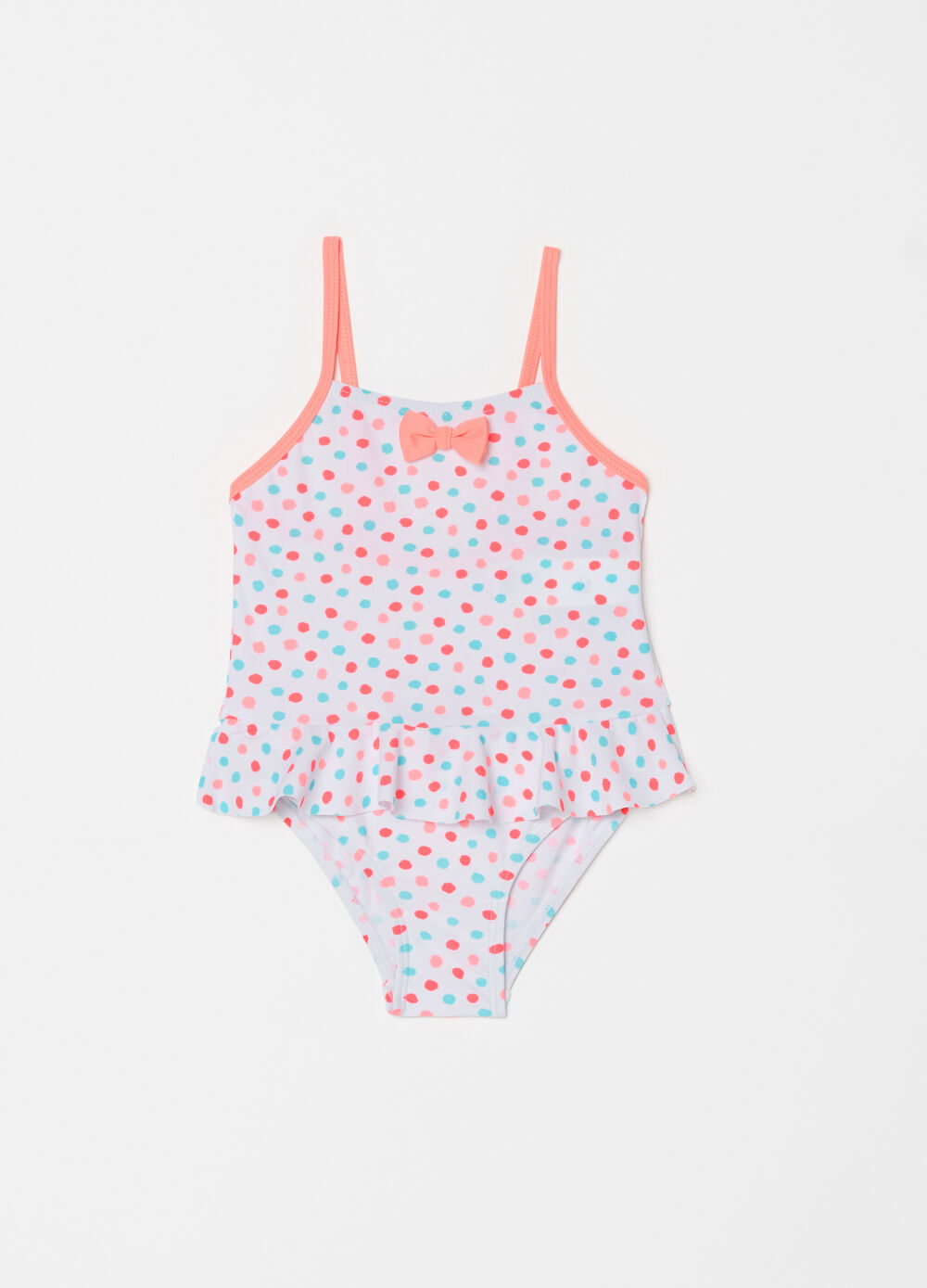 One-piece swimsuit with flounce and polka dot pattern