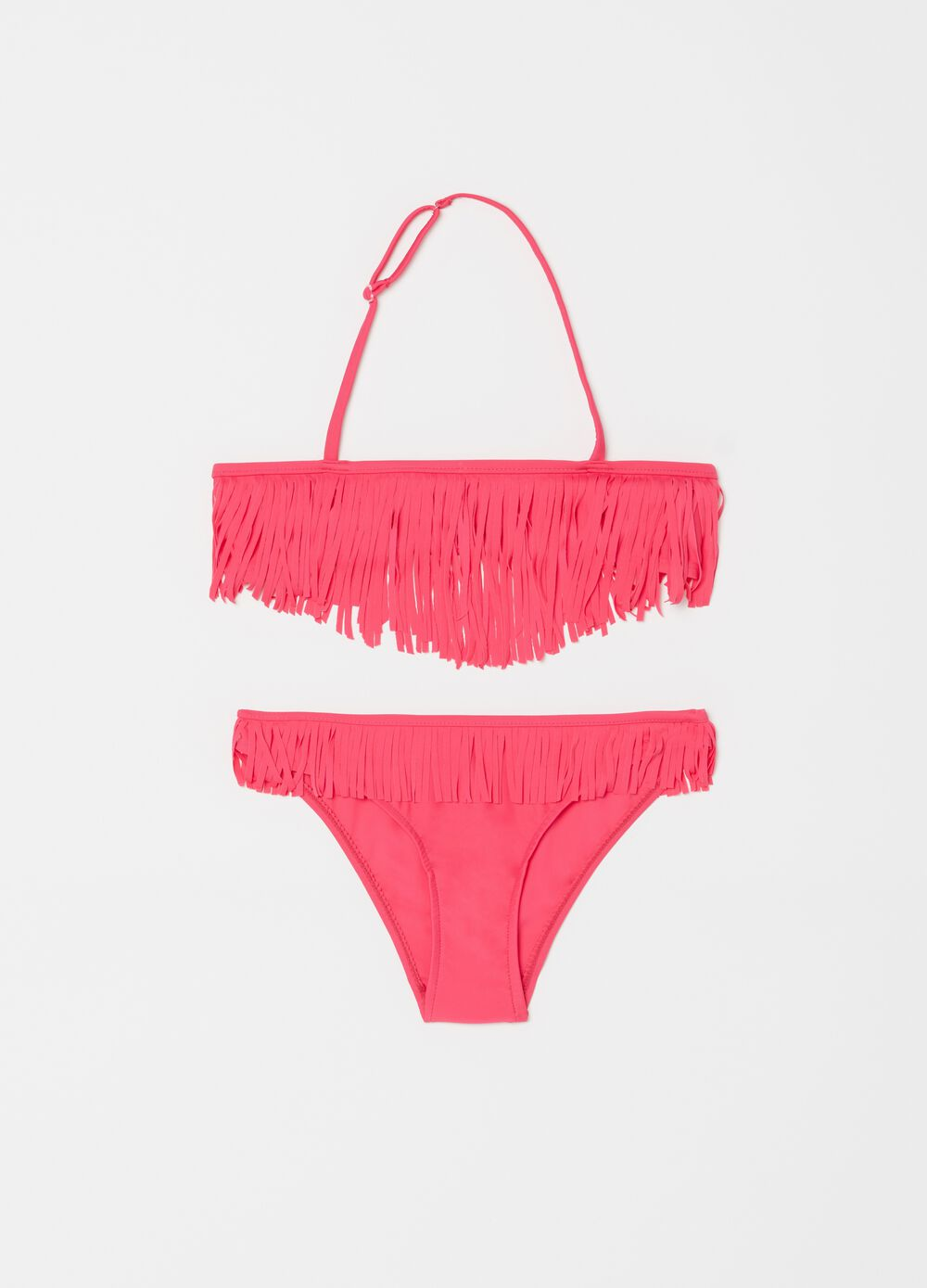 Solid colour bandeau bikini top and briefs with fringing
