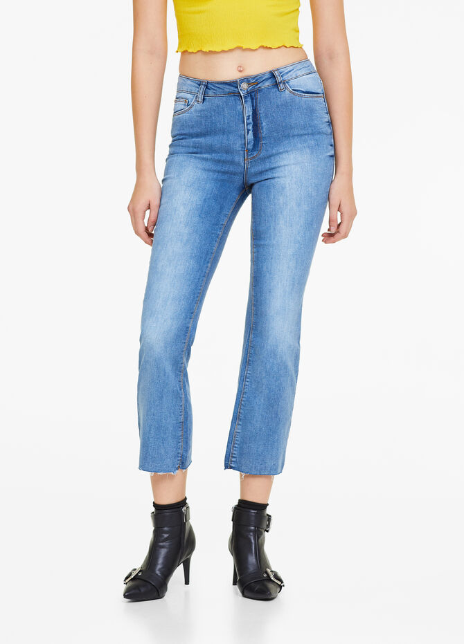 Ankle-fit bell-bottom stretch jeans