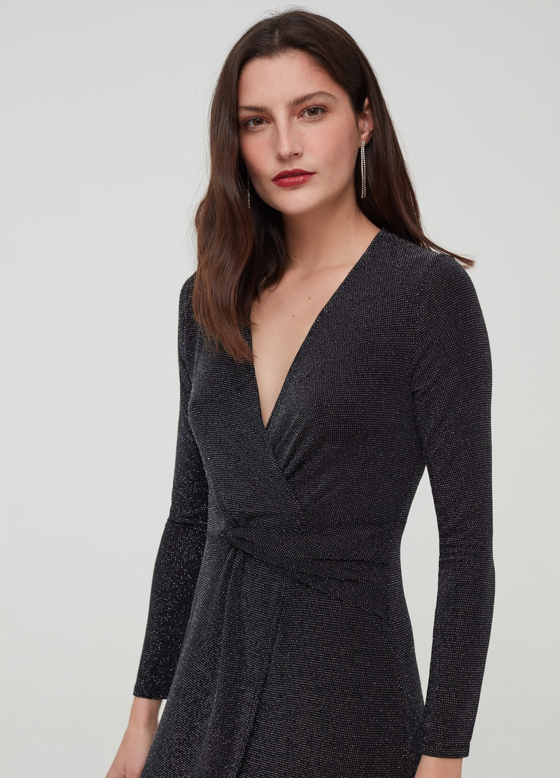 V-neck stretch dress with lurex image number null