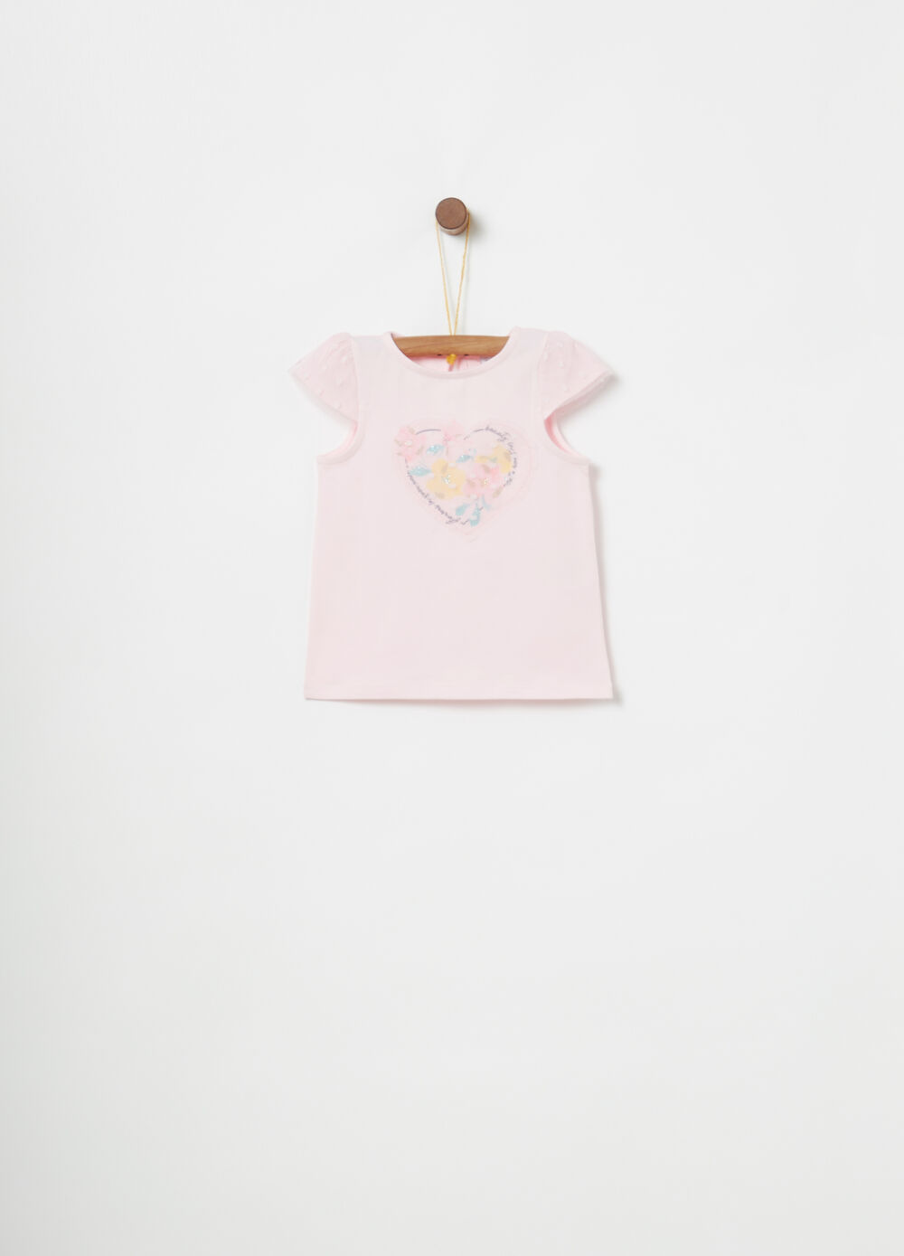 Biocotton T-shirt with tulle, print and diamantés