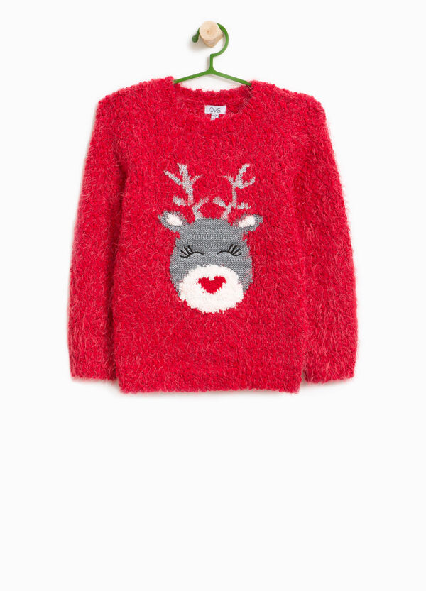 Knitted pullover with reindeer print | OVS