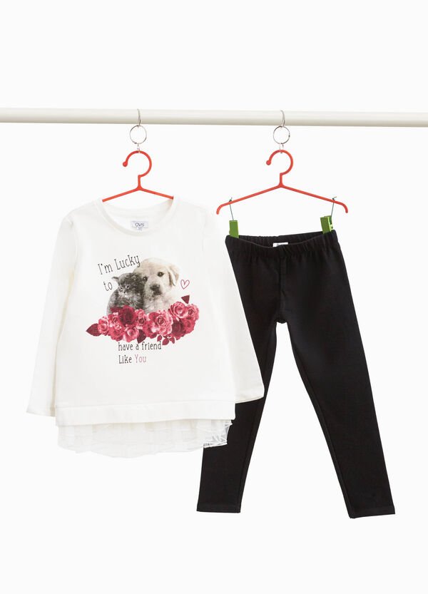 Tracksuit with kitten and puppy print