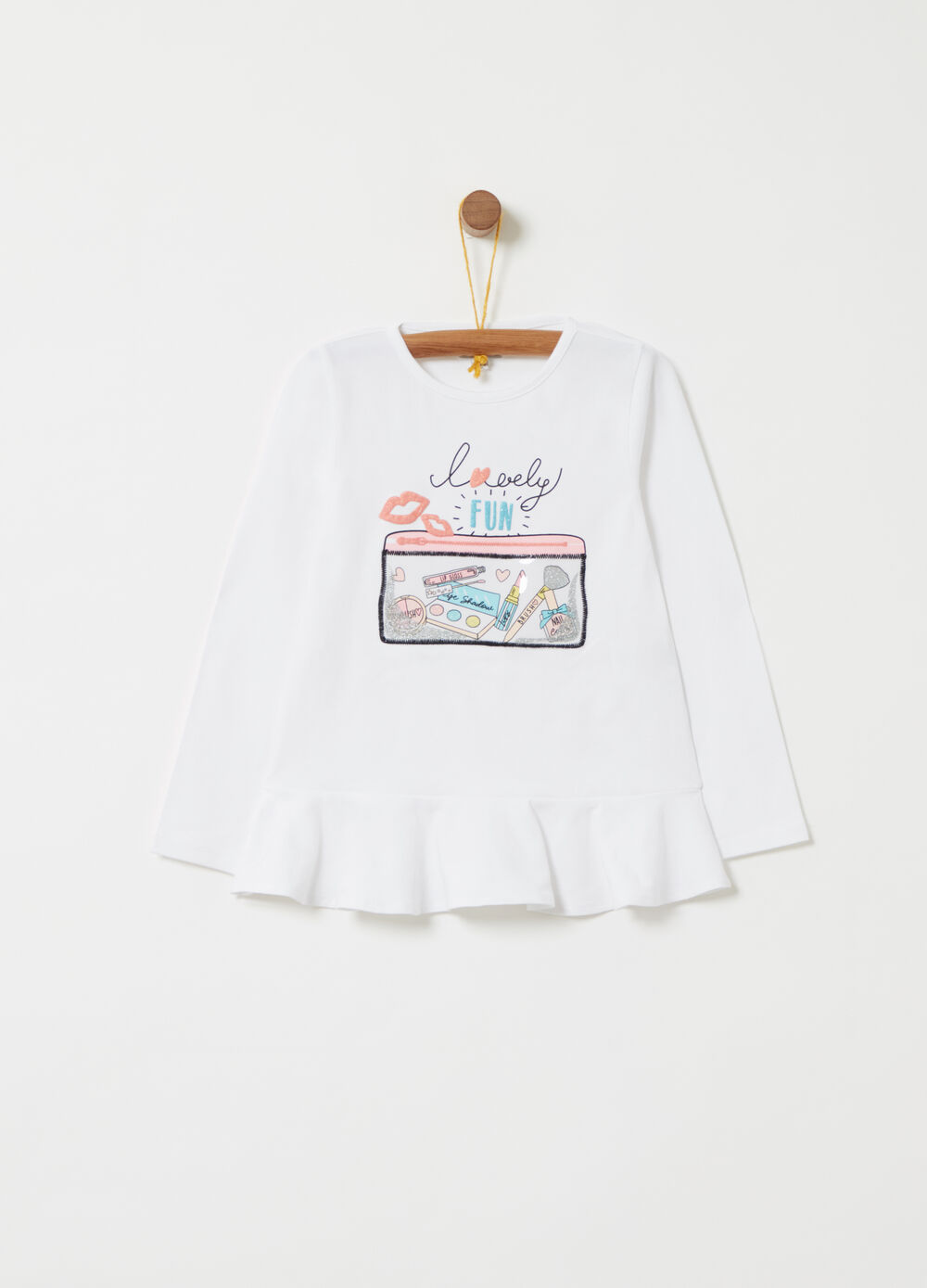 T-shirt with flounce and beauty case print