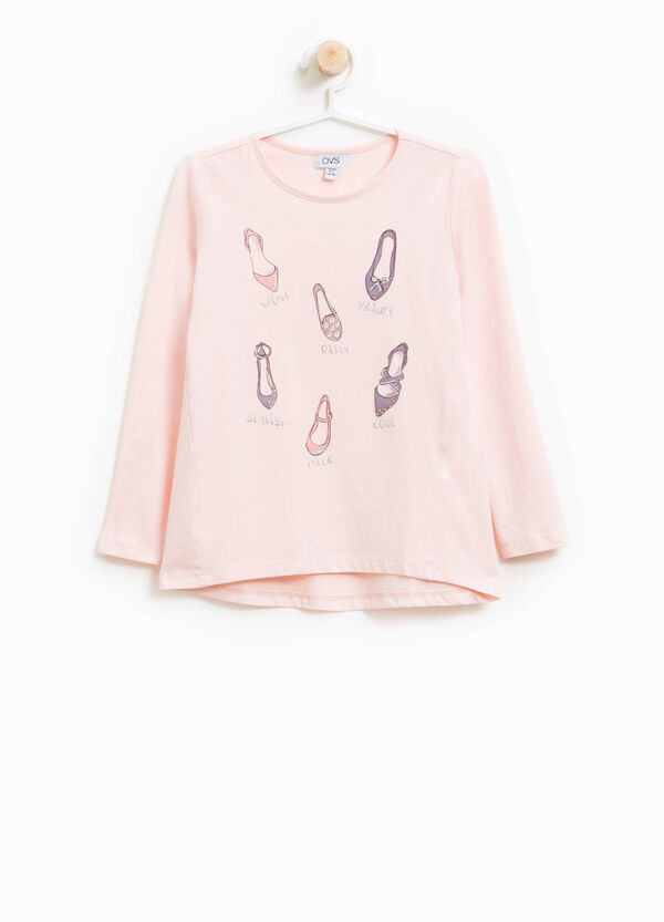 Stretch cotton T-shirt with shoes print