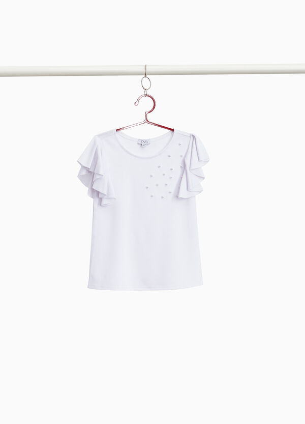 Stretch T-shirt with flounce and beads