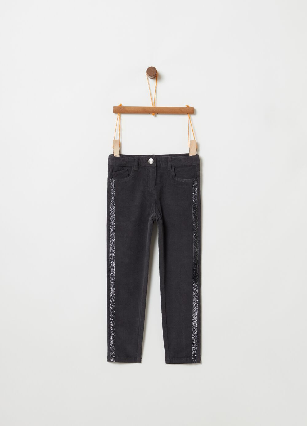 Ribbed trousers with glitter inserts