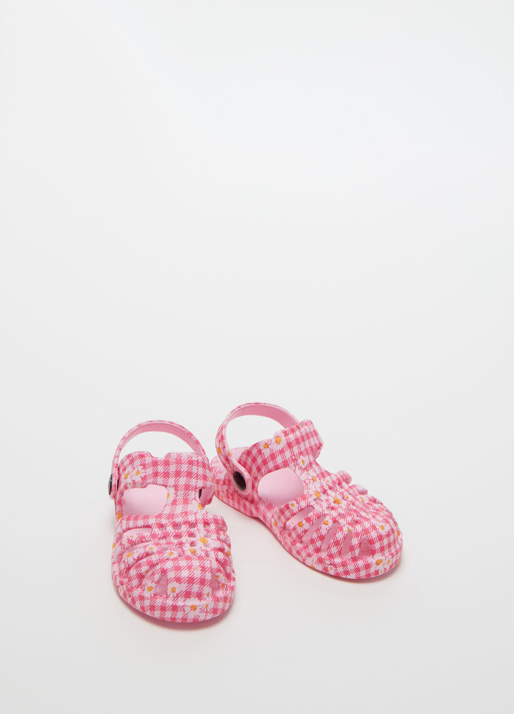 Strappy sandals with floral Vichy pattern