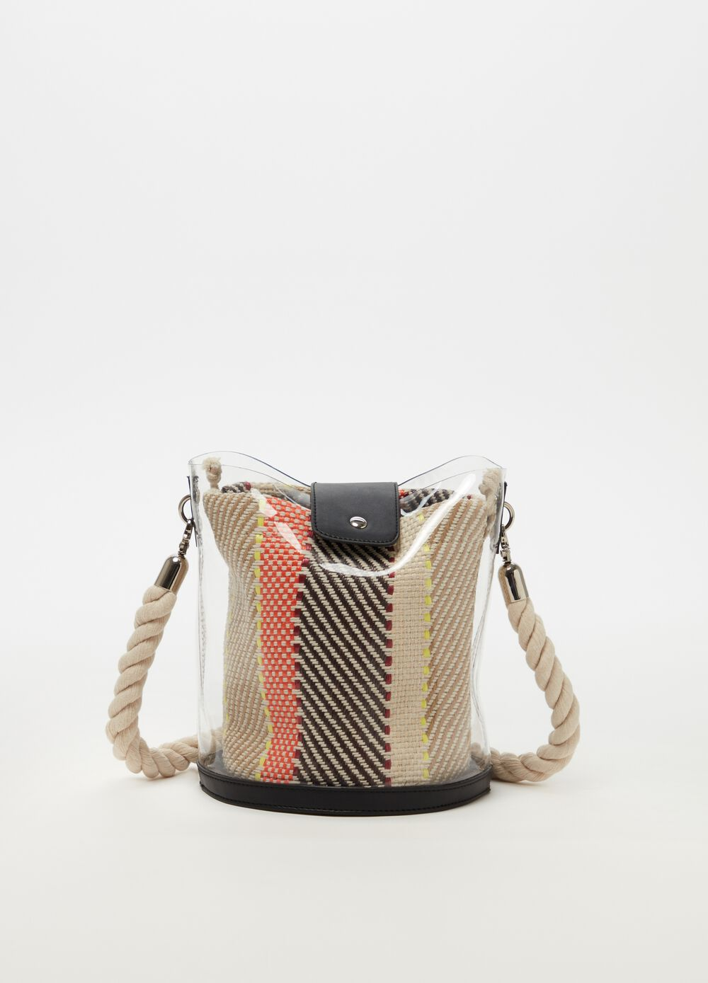 Tote bag with rope-effect handle