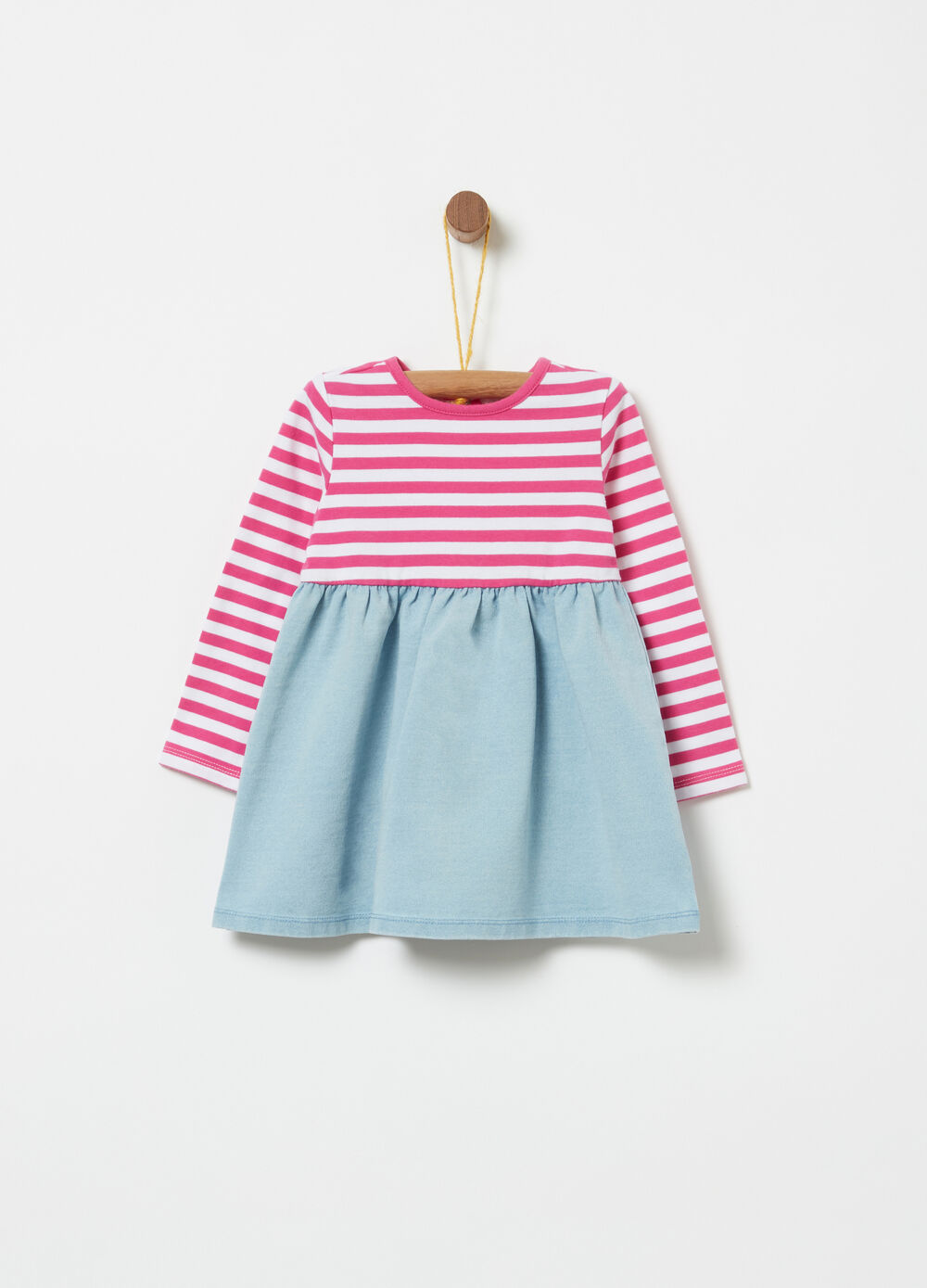 Dress with striped top and denim skirt