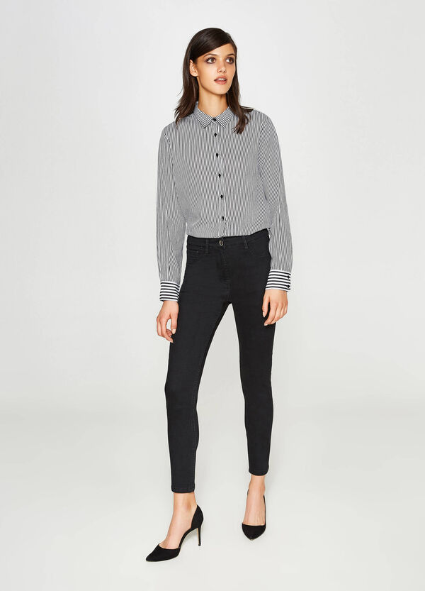 Stretch cotton trousers with high waist | OVS