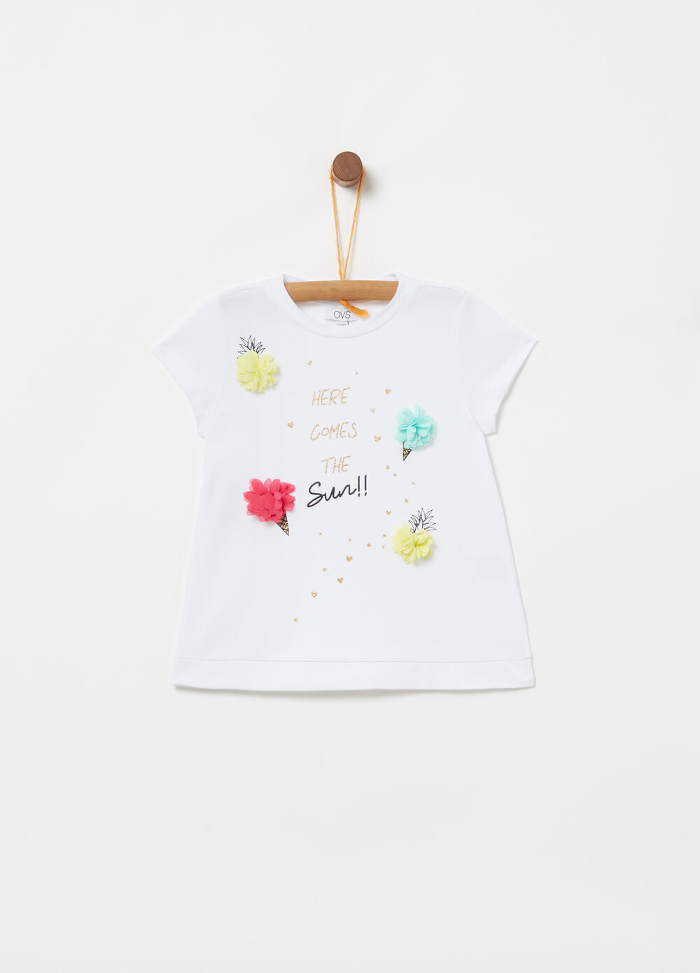 T-shirt with georgette appliqué and print