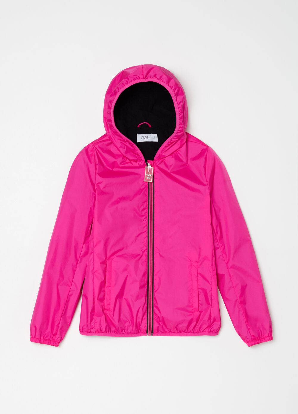 Nylon windbreaker with hood