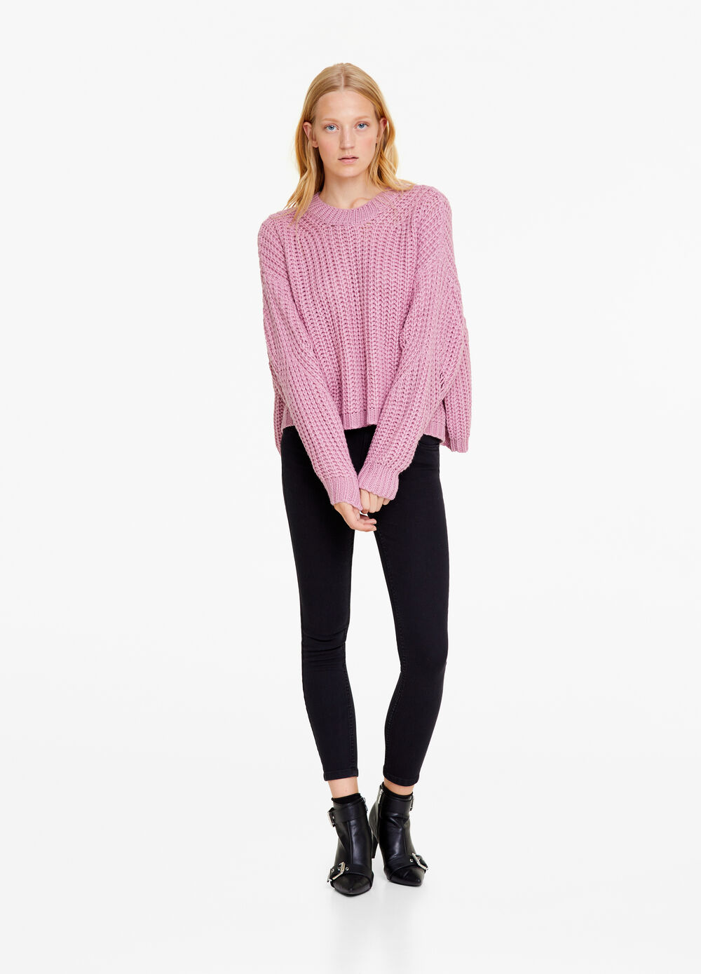 Solid colour skinny stretch jeans