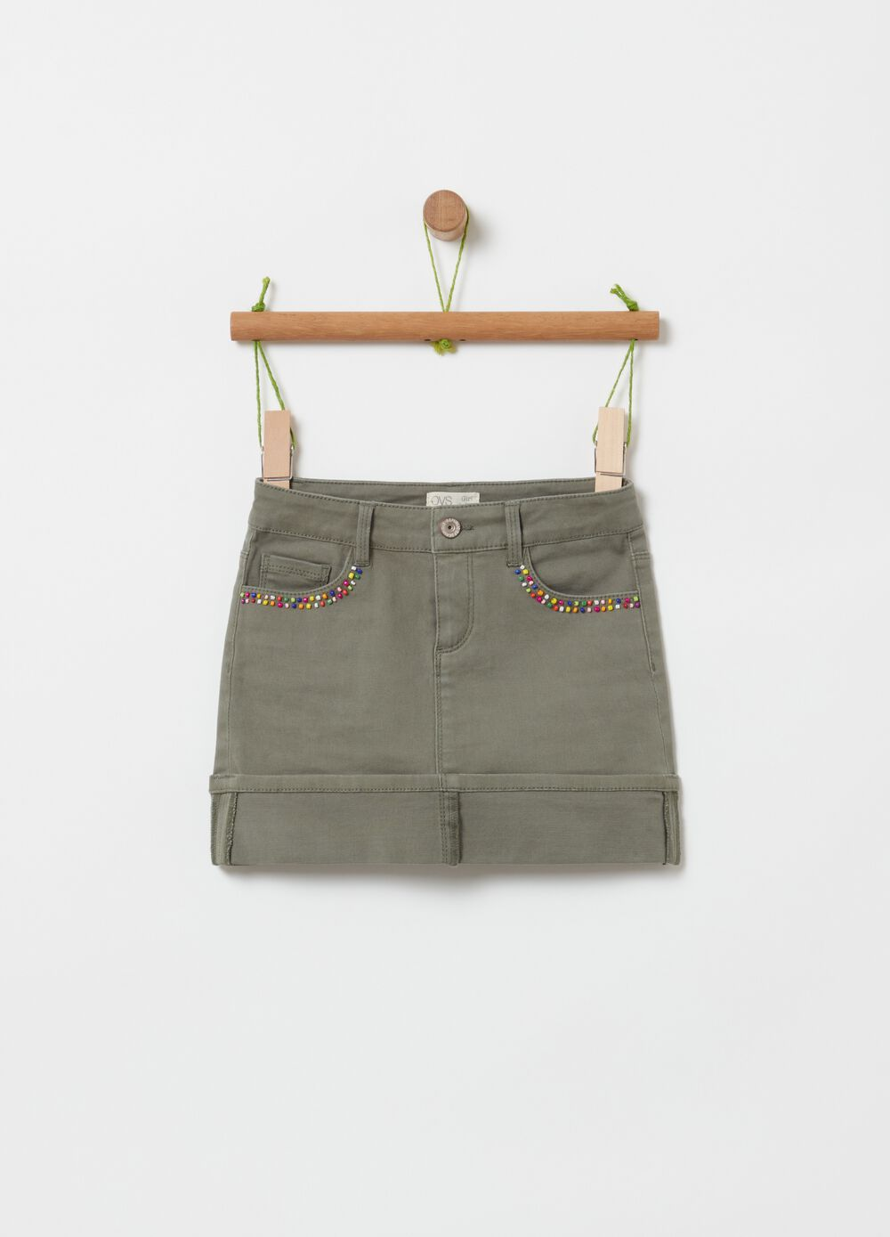 Stretch cotton skirt with beads