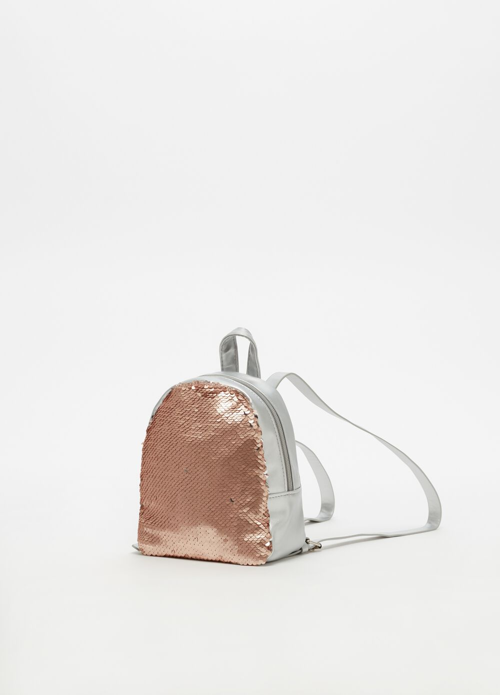 Sequinned leather-look backpack
