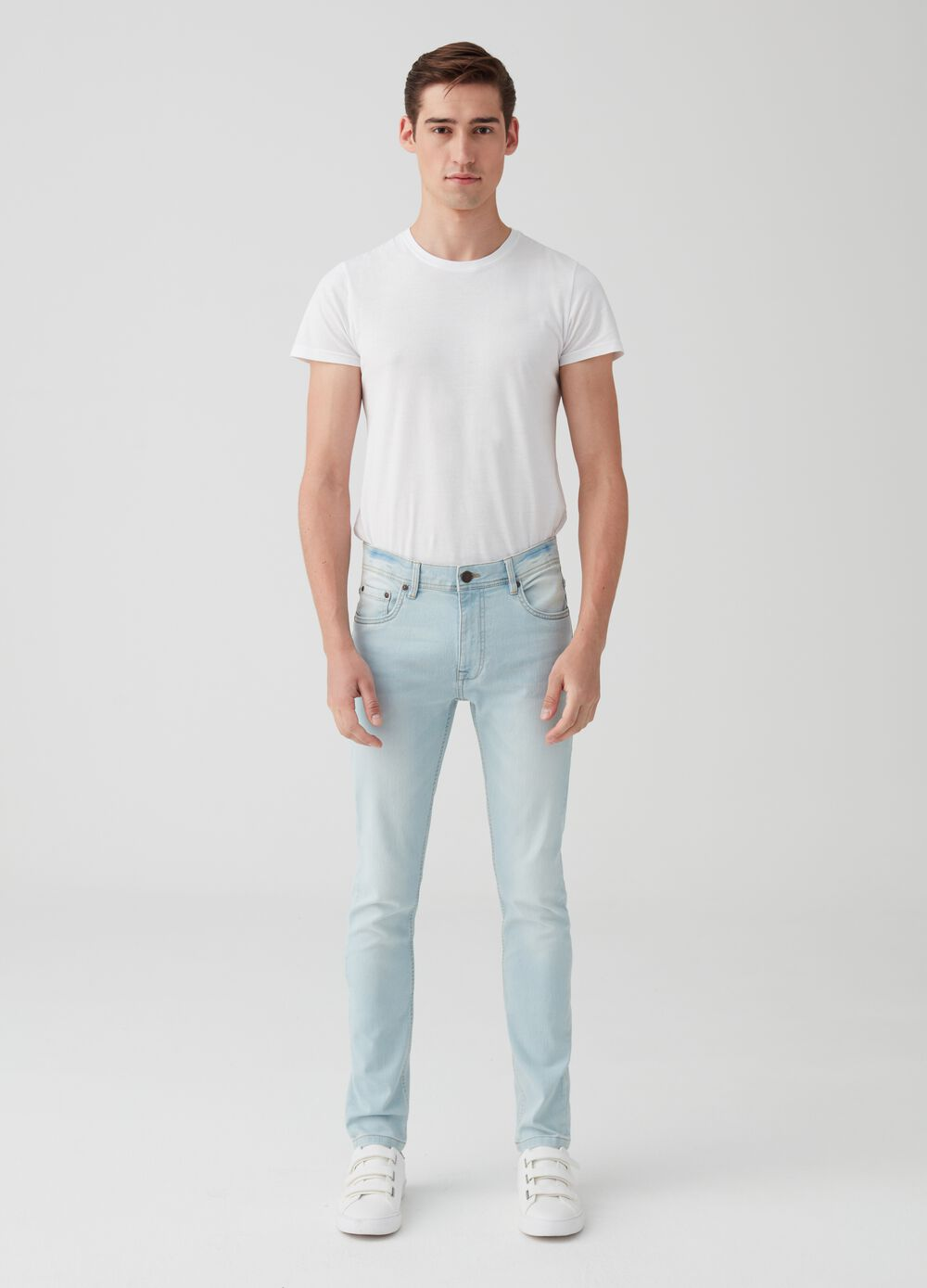Washed-effect superskinny-fit stretch jeans