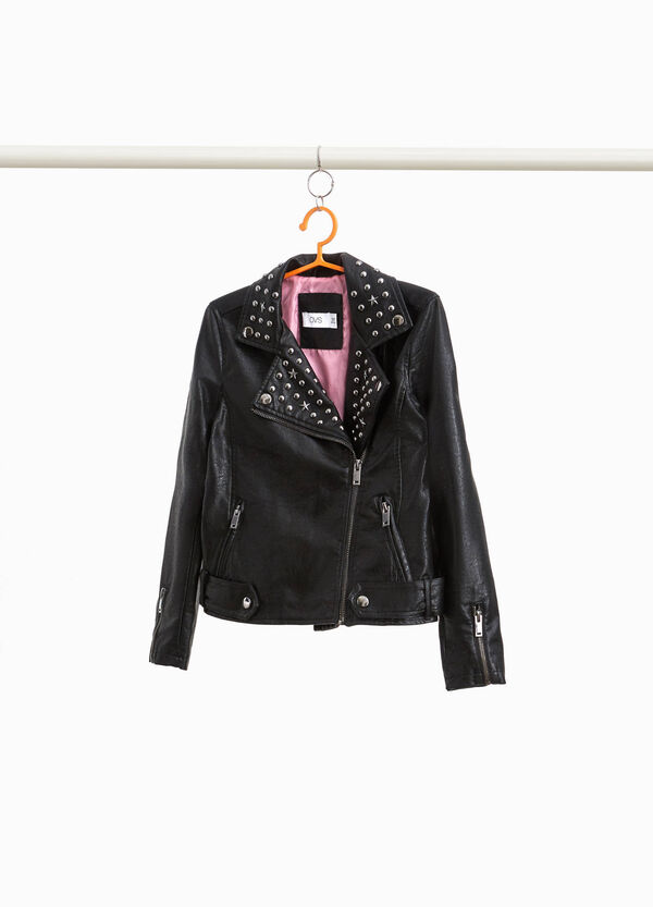 Jacket with lapels and studs