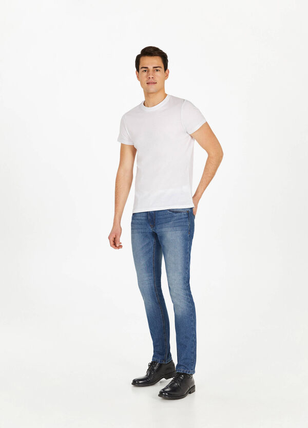 Faded, worn-effect slim-fit stretch jeans