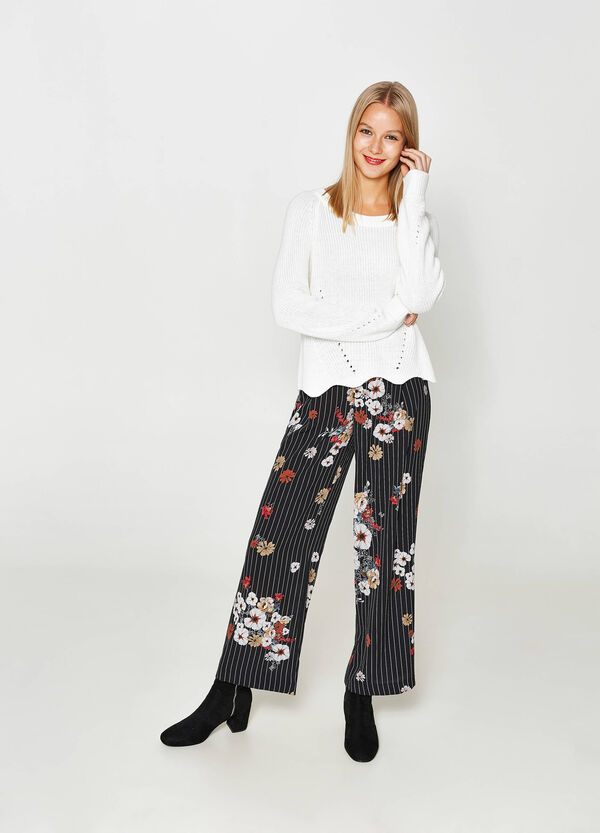 Floral stretch trousers with stripes