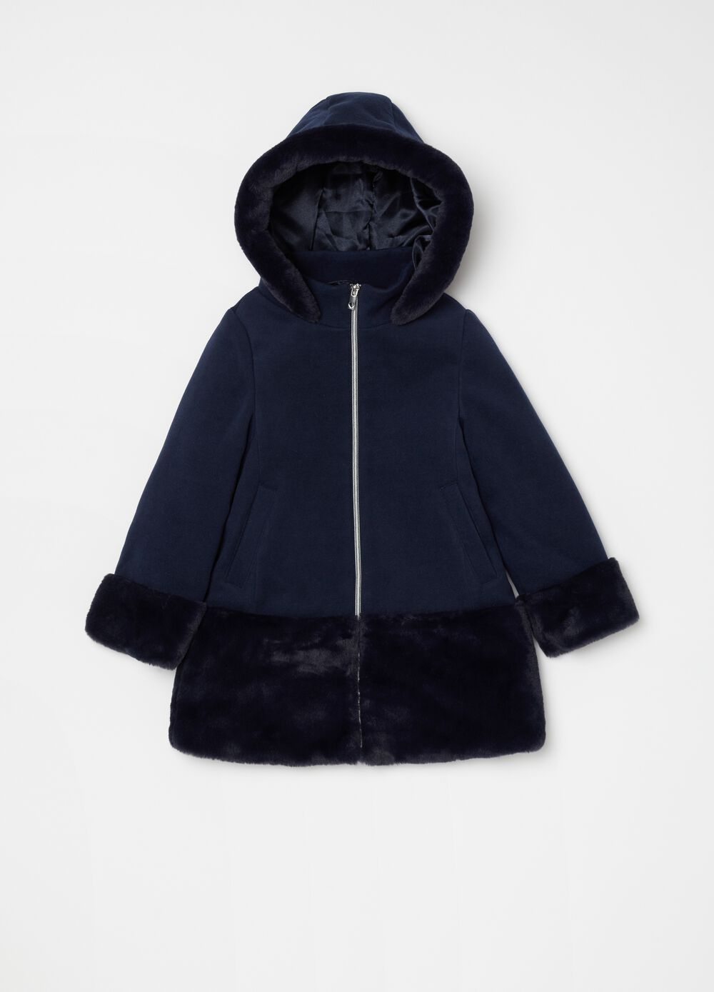 Coat with large hood and faux fur trim