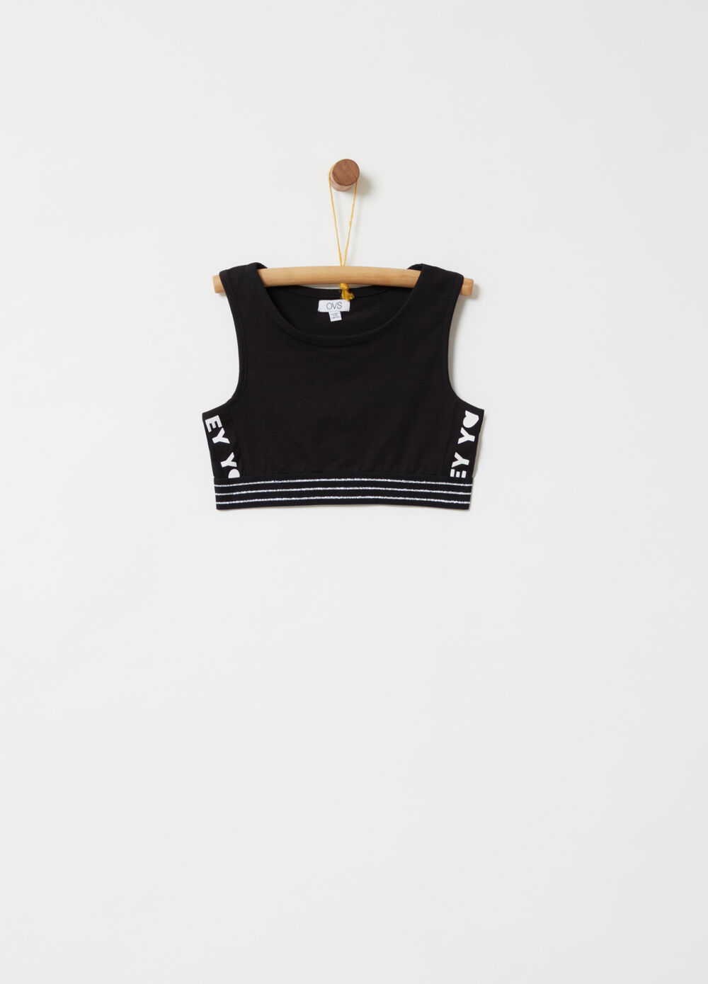Crop top with elasticated lurex thread stripes