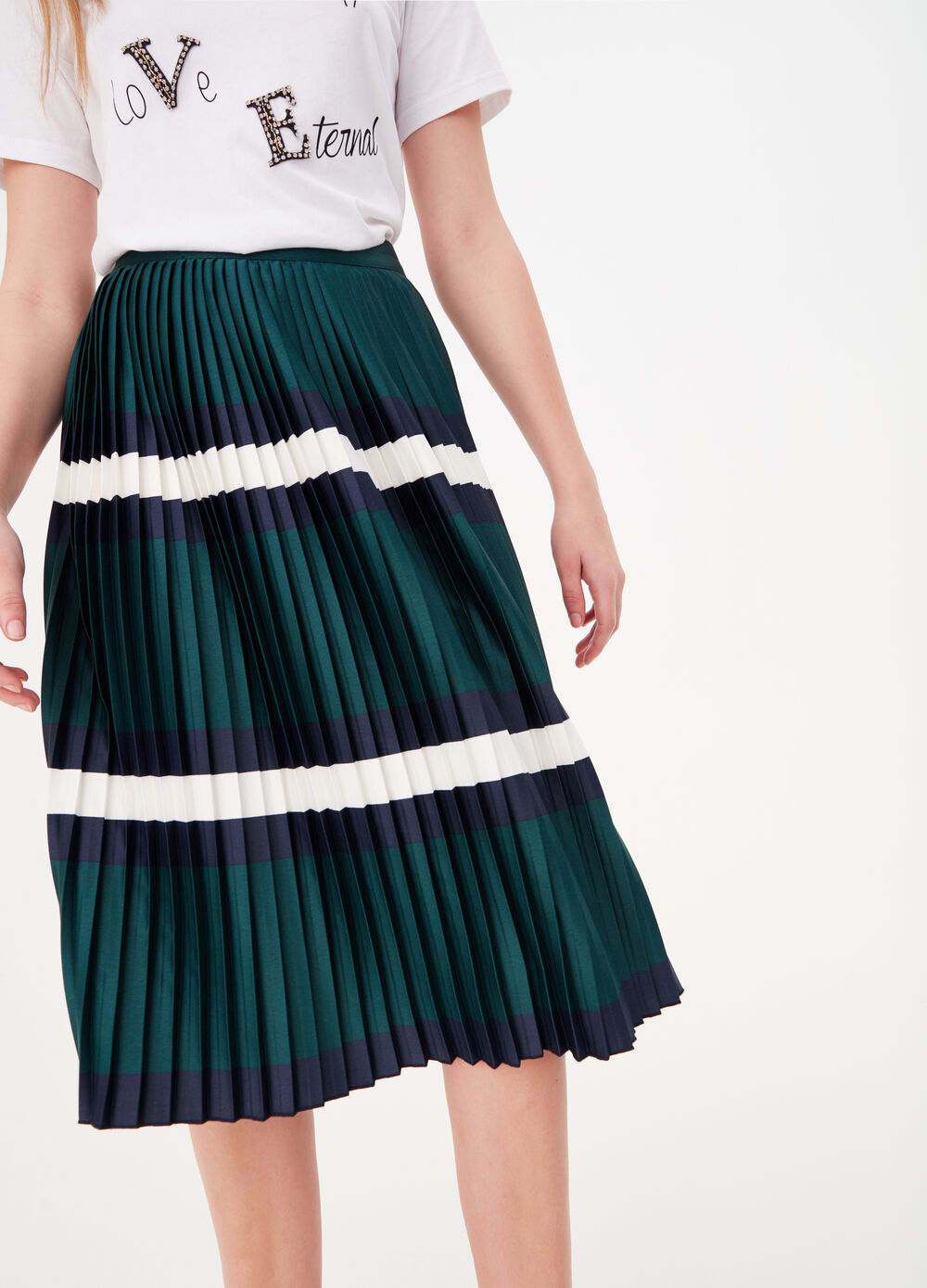 Pleated midi skirt with striped print