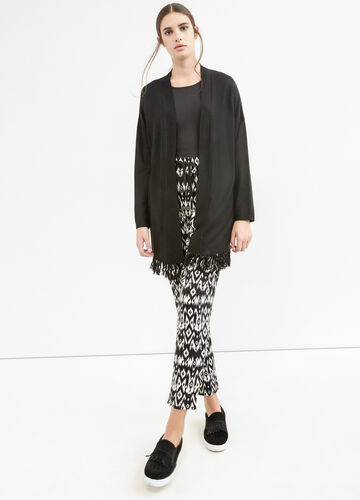 Viscose blend long cardigan with fringe
