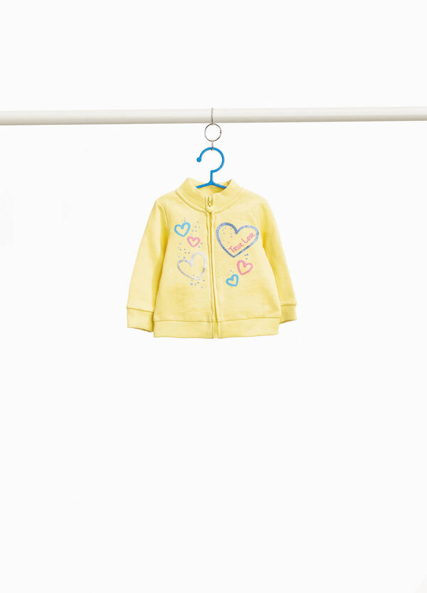 Cotton hoodie with glitter hearts print