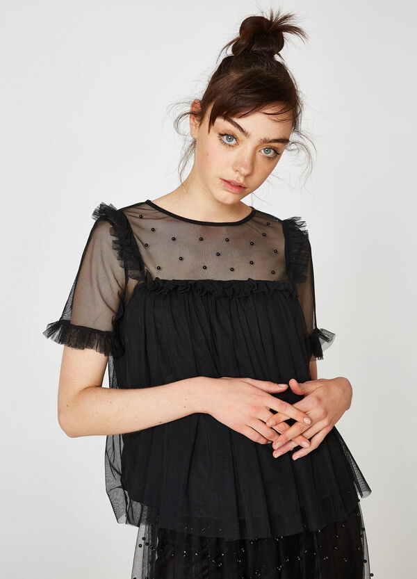 Speckled tulle T-shirt with flounce