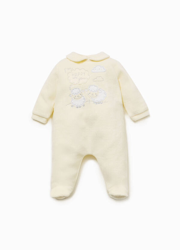 Cotton blend onesie with sheep patches