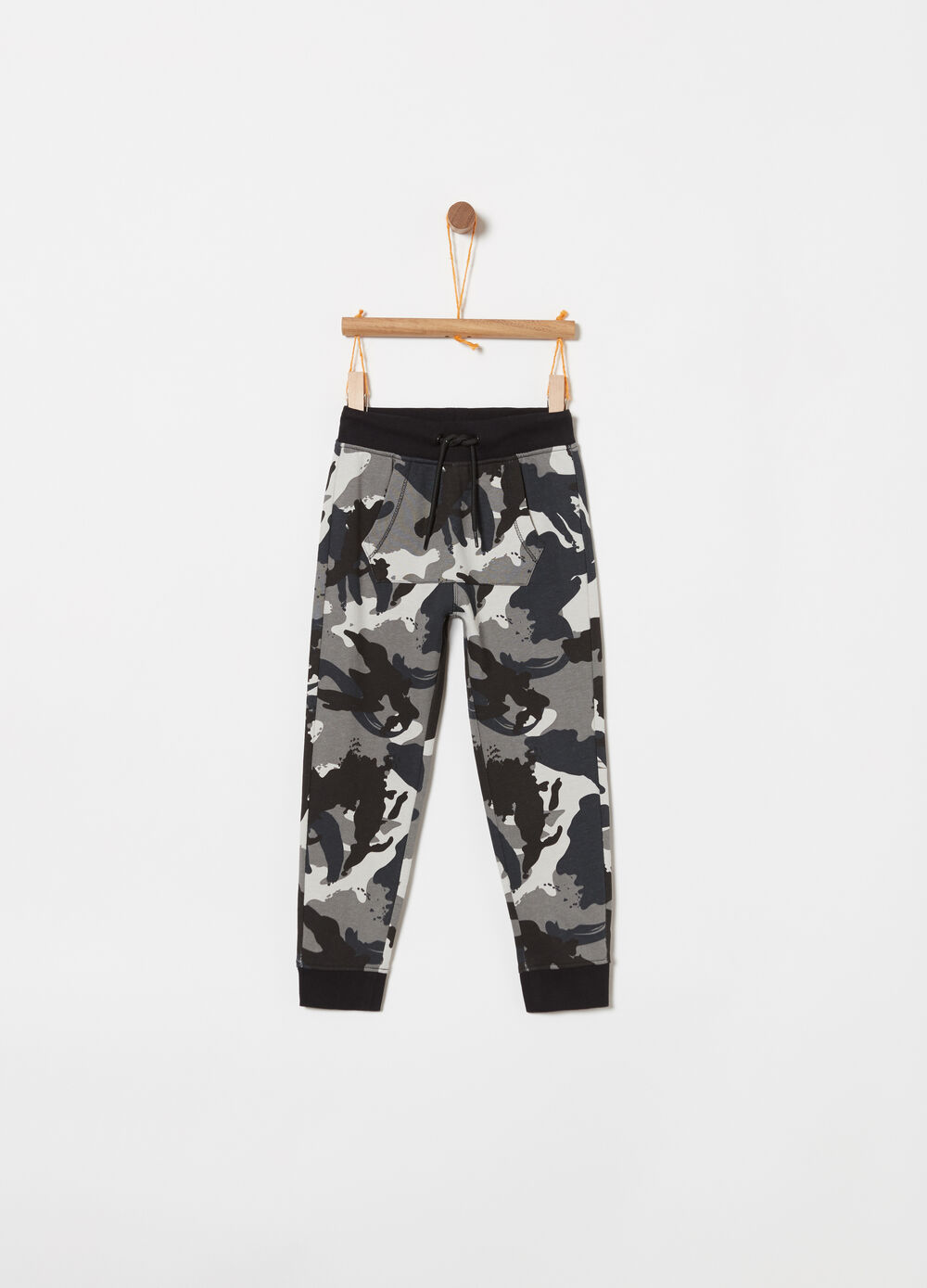 Lightweight fleece trousers with all-over print