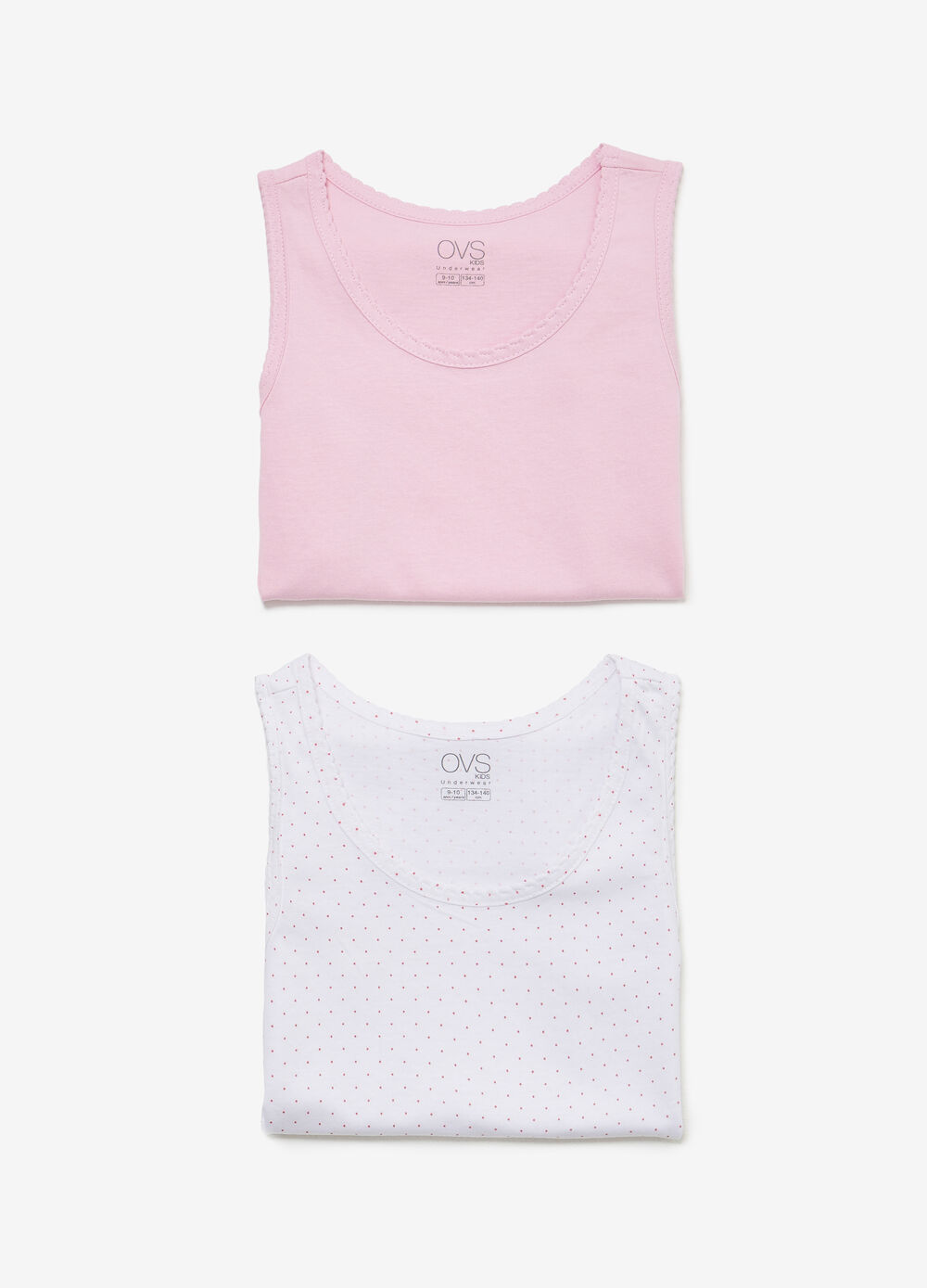 Two-pack cotton under tops polka dots and solid colour