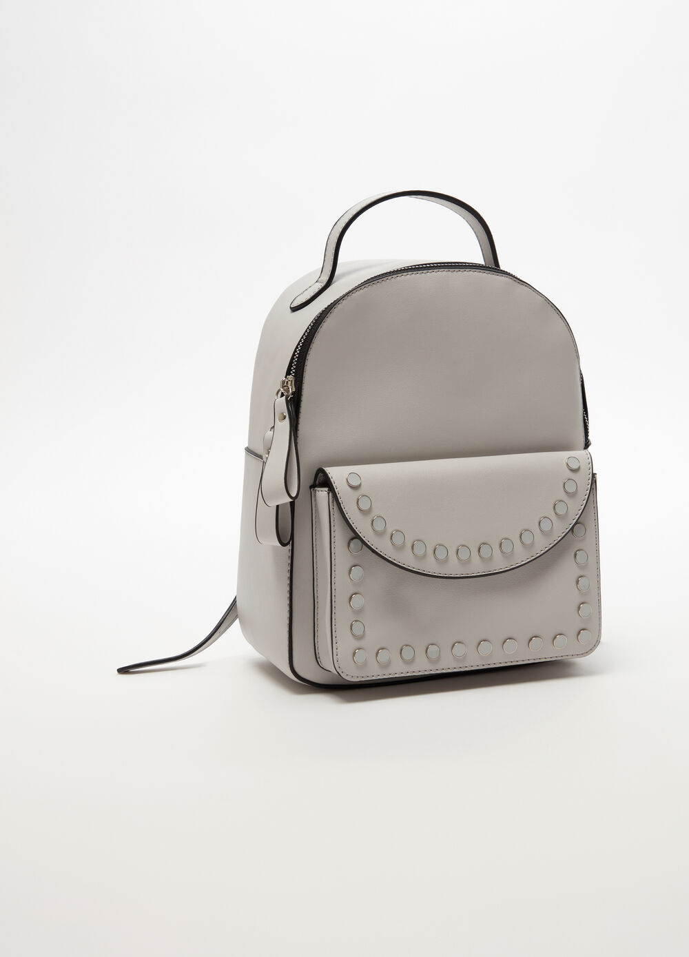 Leather-look backpack with pocket and studs