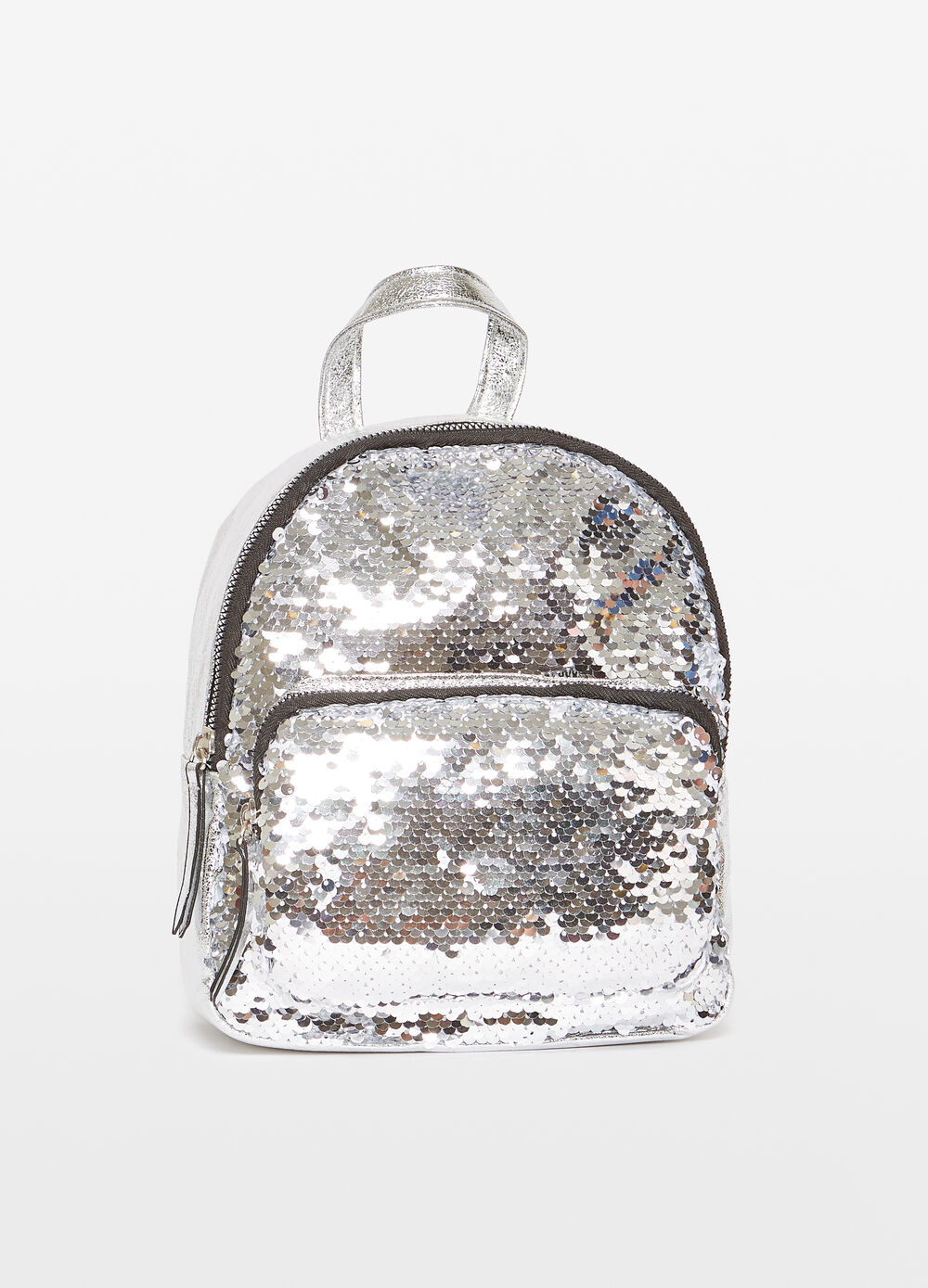 Glossy-effect backpack with sequins