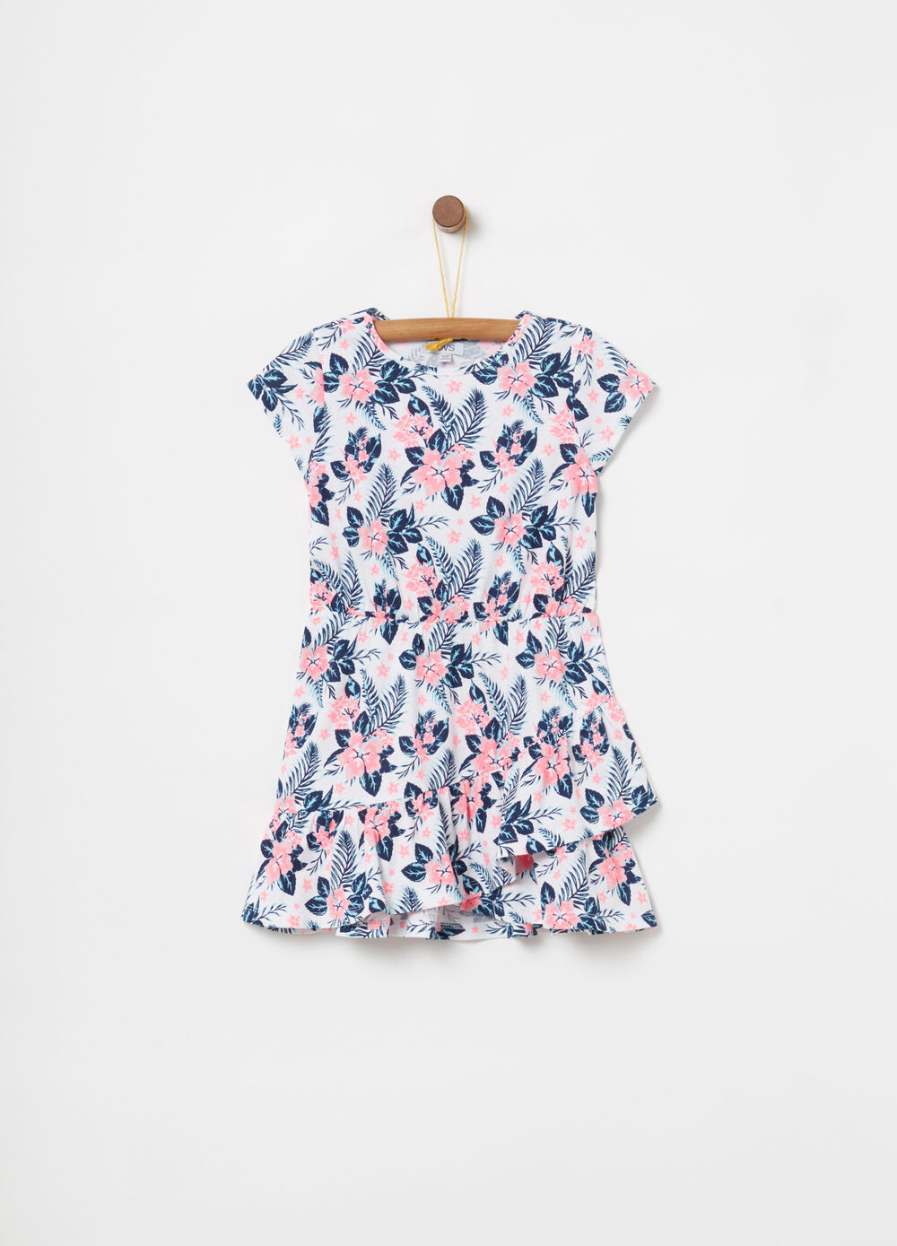 Dress with frills and floral pattern