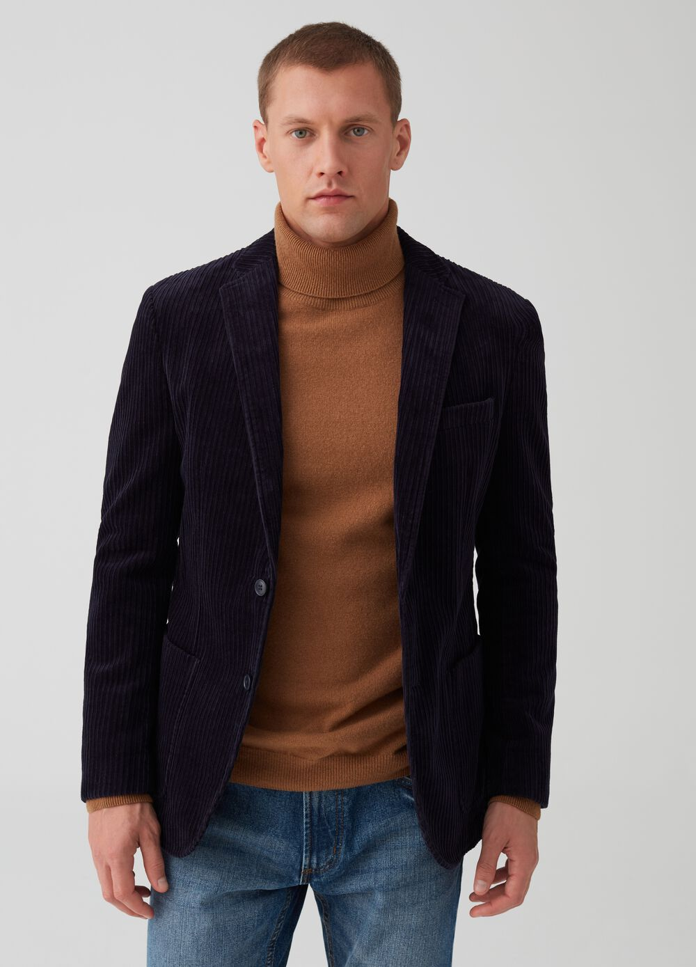 Rumford two-button jacket in velvet