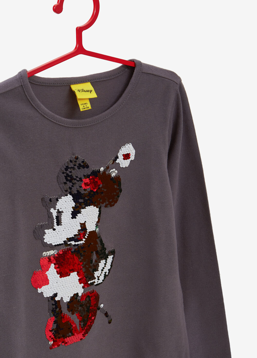 Stretch cotton T-shirt with Minnie Mouse sequins