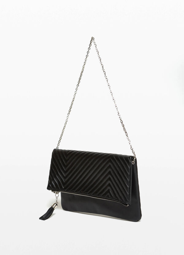 Clutch bag with quilted flap.