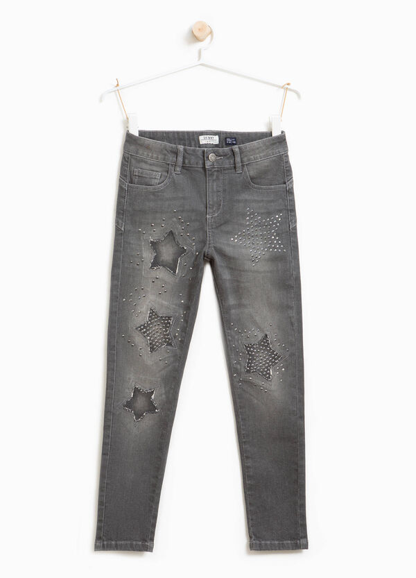 Skinny-fit stretch jeans with diamantés | OVS