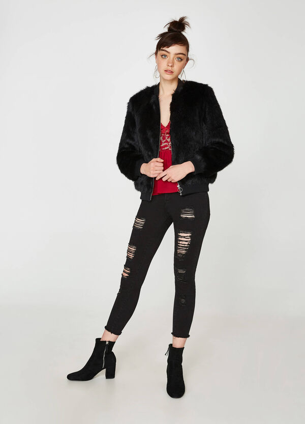 Fur jacket with zip